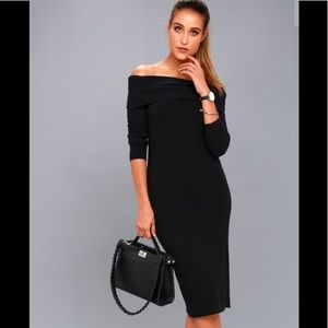 Lulus Cowl Off Shoulder Sweater Dress